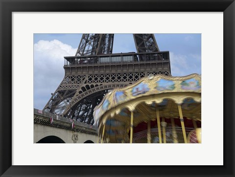 Framed Eiffel Tower with Running Carousel Print