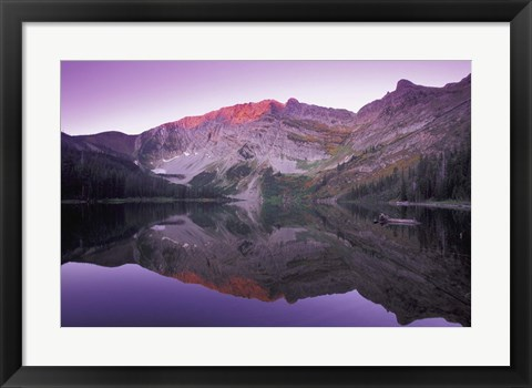 Framed Purple Mountain Reflection Print