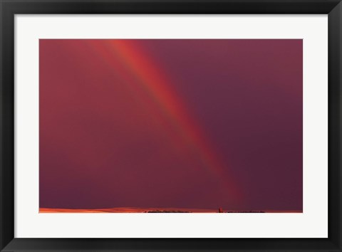 Framed Rainbow in Red Sky Print