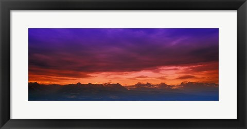 Framed Red Horizon Over the Mountains Print