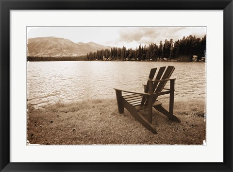 Framed Chair at Waters Edge Print