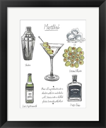 Framed Classic Cocktail - Martini Print