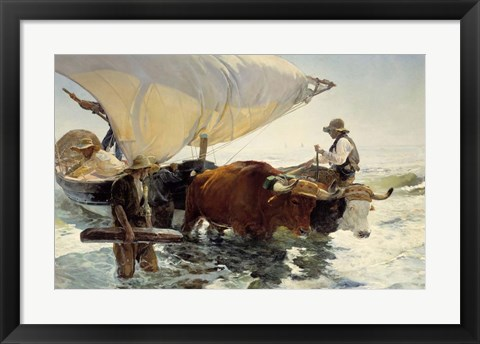 Framed Returning from Fishing - Hauling of the Boat Print