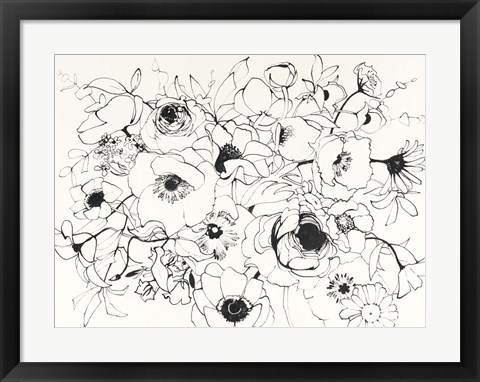 Framed Black Line Poppies Mix Print