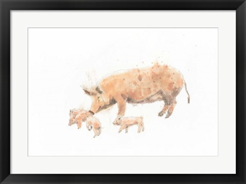 Framed Pig and Piglet Print