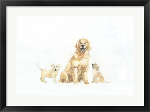 Framed Dog and Puppies Print