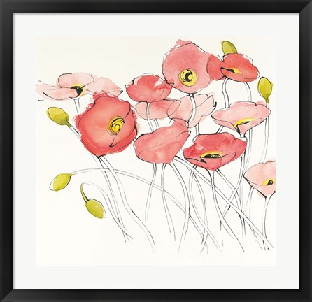Framed Black Line Poppies I Watercolor Print