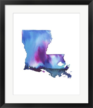 Framed Louisiana State Watercolor Print