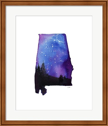 Framed Alabama State Watercolor Print