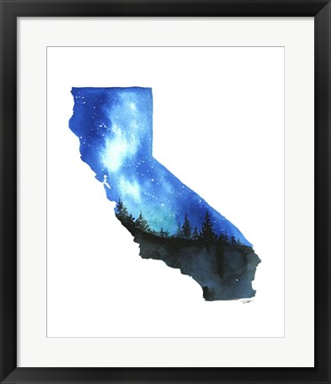 Framed California State Watercolor Print