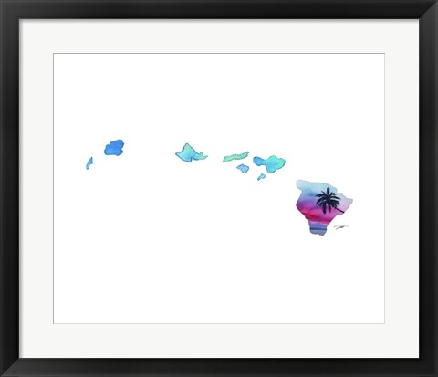 Framed Hawaii State Watercolor Print