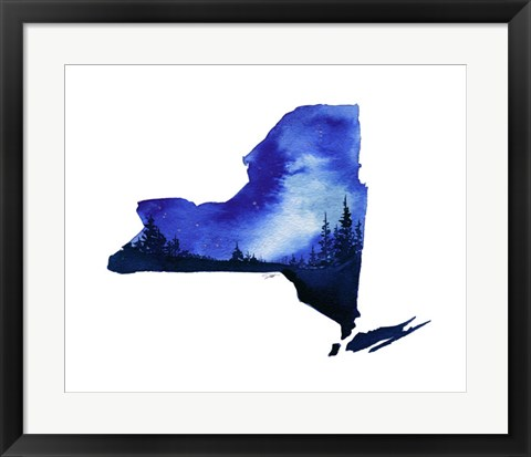 Framed New York State Watercolor Print