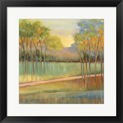 Framed Road Through Blue Fields Print