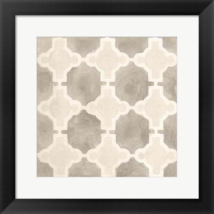 Framed Neutral Watercolor Tile III Print