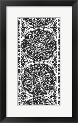 Framed B&W Arabesque Panels III Print