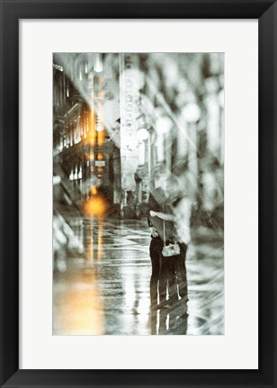 Framed Romance in the Rain Print