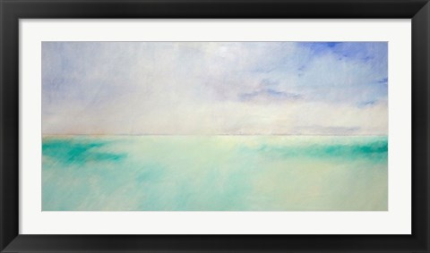 Framed Green and Purple Sea and Sky Print