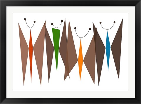 Framed Butterflies - Browns Print