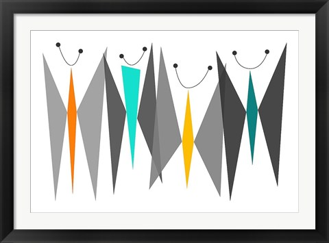 Framed Butterflies - Grays Print