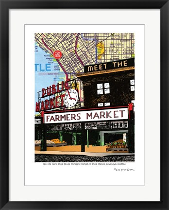 Framed Pike Place Market Seattle Print