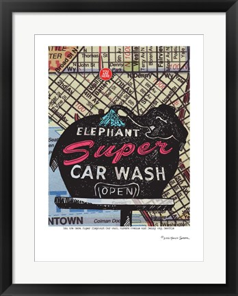 Framed Super Elephant Car Wash Seattle Print