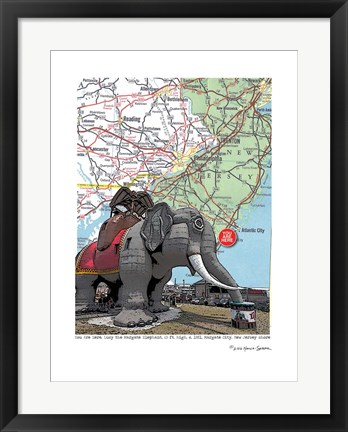 Framed Jersey Shore Lucy Margate Elephant Print