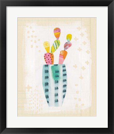 Framed Collage Cactus I on Graph Paper Print