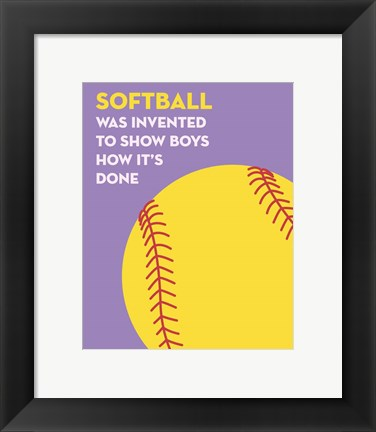 Framed Softball Quote - Yellow on Purple Print