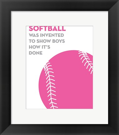 Framed Softball Quote - Pink on White Print
