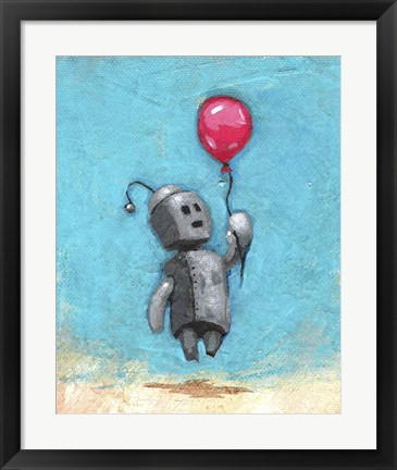 Framed Robot With Red Balloon Print