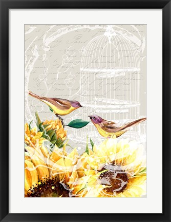 Framed Sunflower Birds I Print