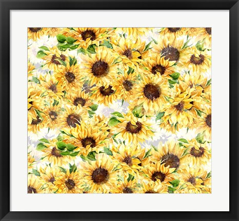 Framed Sunflowers Pattern Print
