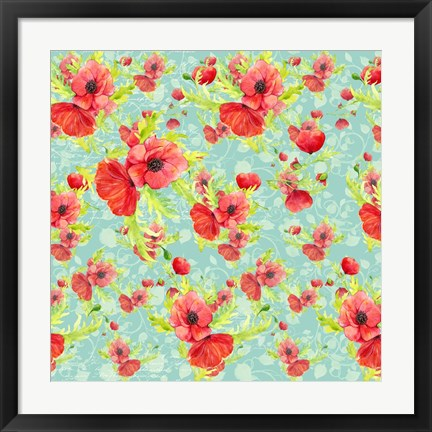 Framed Poppy Pattern II Print