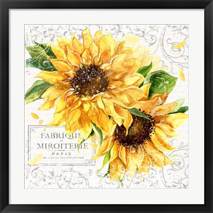 Framed Summertime Sunflowers I Print