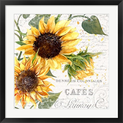 Framed Summertime Sunflowers II Print
