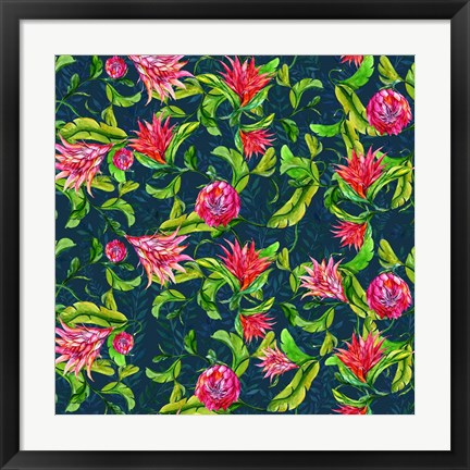 Framed Tropical Flowers Pattern Print