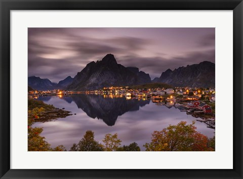 Framed Reflection in Reinefjord Print