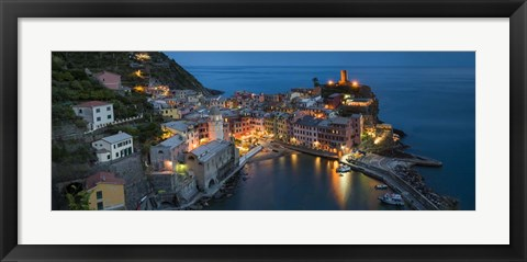 Framed Dusk at Vernazza - Panorama Print