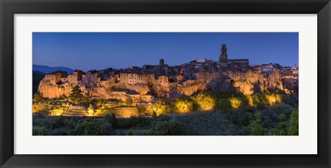 Framed Lights on Pitigliano - Panorama Print