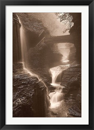 Framed Waterfall on a Rainy Day Print