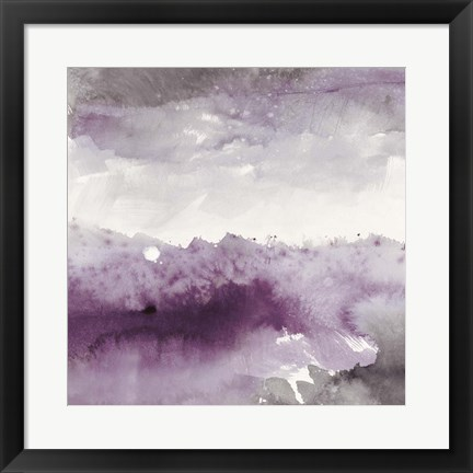 Framed Midnight at the Lake II Amethyst and Grey Print