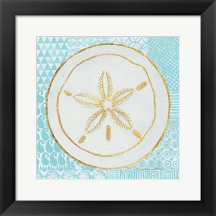 Framed Summer Shells I Teal and Gold Print