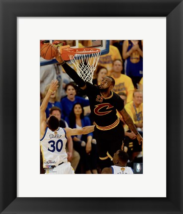 Framed Lebron James block Game 7 of the 2016 NBA Finals Print