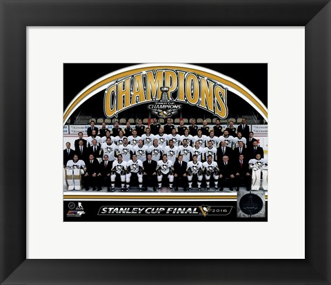 Framed Pittsburgh Penguins 2016 Stanley Cup Champions Team Sit Down Print