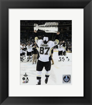 Framed Sidney Crosby with the Stanley Cup Game 6 of the 2016 Stanley Cup Finals Print