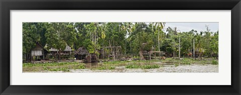 Framed Houses on the Bank of the Sepik River, Papua New Guinea Print