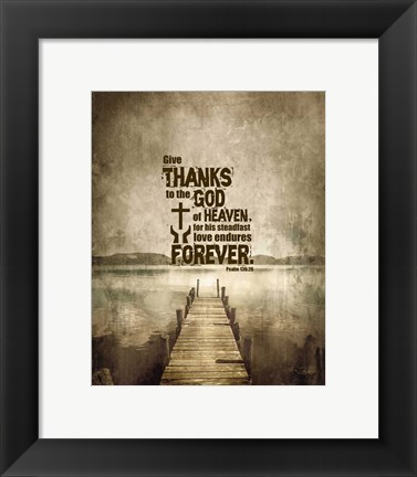 Framed Psalm 136:26, Give Thanks (Sepia) Print