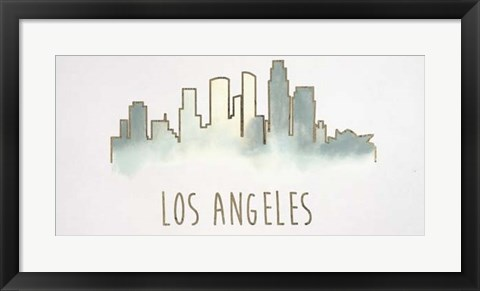 Framed Goldleaf City Silhouette IV - Metallic Foil Print