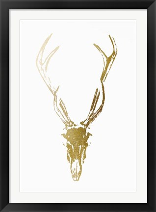 Framed Gold Foil Rustic Mount I on White - Metallic Foil Print