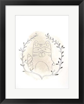 Framed Golden Woodland Vignette II - Metallic Foil Print
